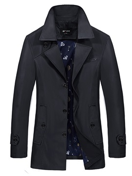 Medium Length Lapel Solid Color Slim Mens Jacket