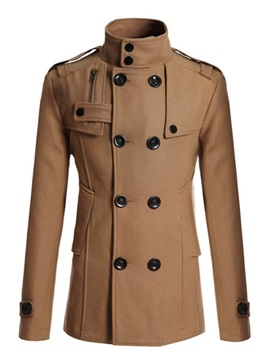 Medium Length Slim Stand Collar Double Breasted Mens Coat