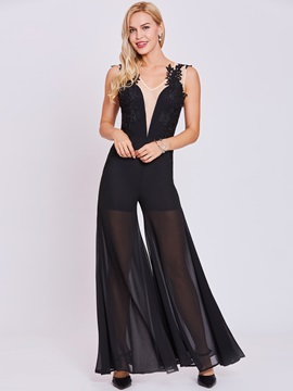 V Neck Zipper Up Appliques A Line Jumpsuit