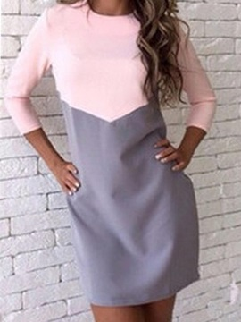 Long Sleeves Color Block Slim Fit Womens Dress