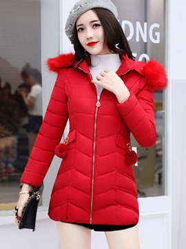 Hooded Slim Fashion Mid Length Long Sleeve Zipper Trench Coat