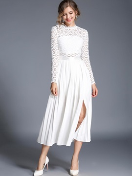 White Long Sleeve Womens Long Day Dress