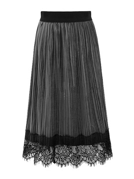 Pleated Lace Ankle Length Womens Skirt