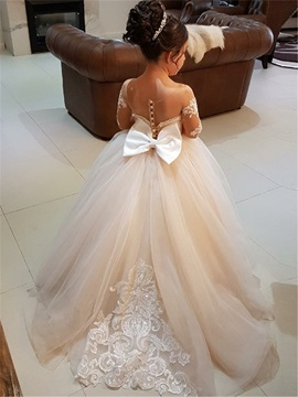 Fancy Sheer Neck Long Sleeves Appliques Flower Girl Dress
