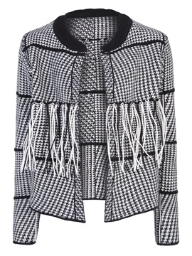 Houndstooth Tassel Patchwork Wrapped Womens Jacket