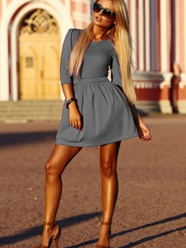 Half Sleeves Scoop Womens Day Dress