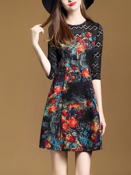 Best Floral Imprint Round Neck Womens Skater Dress