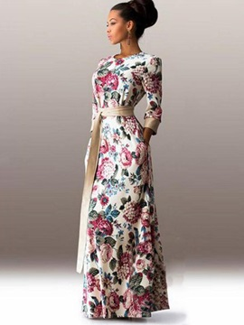 Hot Floral Imprint Long Sleeve Womens Maxi Dress