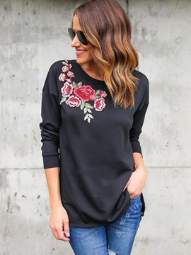 Long Sleeves Flowers Womens T Shirt