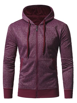 Zipper Solid Color Pocket Hooded Slim Mens Coat