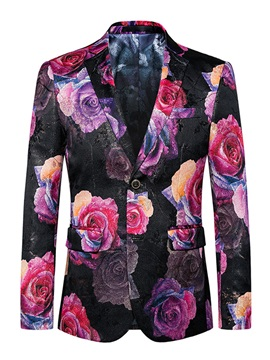 Floral Printing Lapel Two Buttons Slim Long Sleeve Mens Blazer