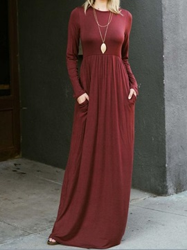 Scoop Long Sleeves Maxi Dress