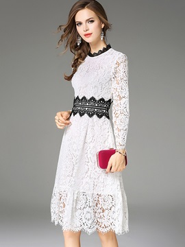 White Long Sleeve Womens Lace Dress