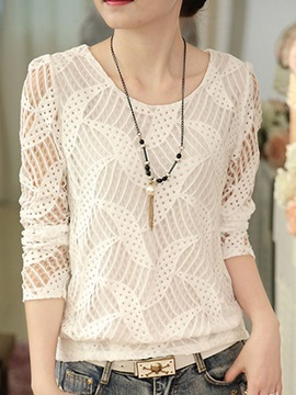 Round Neck Lace Hollow Womens Blouse