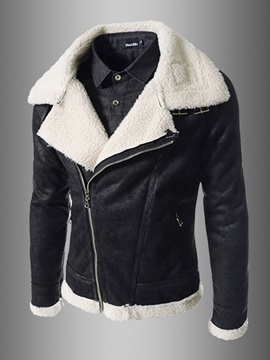Diagonal Zipper Fur Lapel Leather Warm Slim Mens Coat