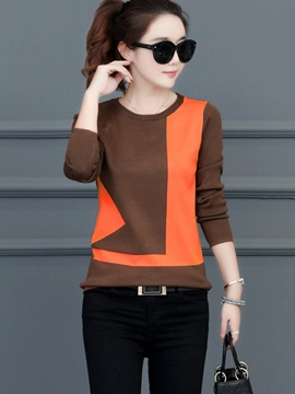 Fashion Sleeve Color Block Pulover Womens Knitwear