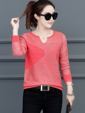 Long Sleeve V Neck Womens Knitwear