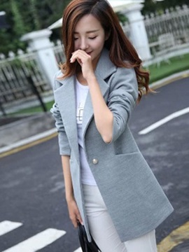 Long Sleeve Lapel Mid Length Overcoat