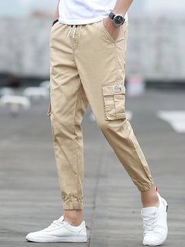 Solid Color Pencil Pocket Straight Slim Mens Casual Pant