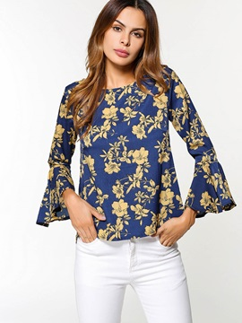 Print Floral Flare Sleeve Womens Blouse