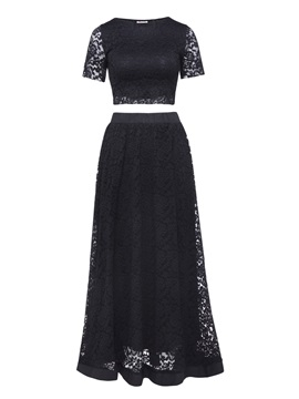 Plain Lace Ankle Length Womens Skirt Suit