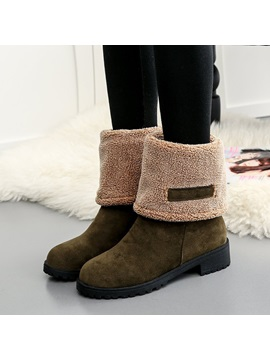 Faux Suede Round Toe Block Heel Ankle Boots