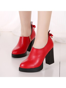 Pu Bow Side Zipper Womens Boots