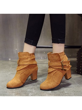 Faux Suede Hasp Buckles Block Heel Ankle Boots