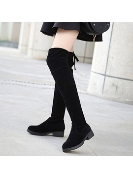 Faux Suede Block Heel Lace Up Back Womens Black Boots