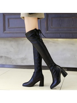 Pu Pointed Toe Lace Up Back Black Boots