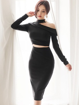 Slim Black Long Sleeve Womens Bodycon Dress