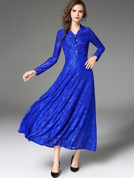 Chic Blue Long Sleeve Womens Maxi Dress