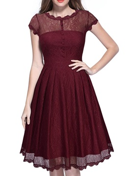 Solid Color Short Sleeve Womens Lace Dress