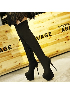 Faux Suede Pointed Toe Side Zipper Thigh High Boots