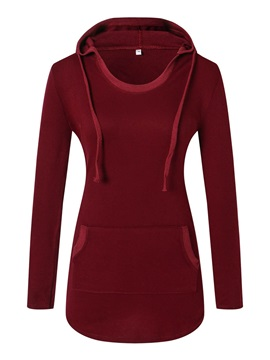 Slim Front Pocket Solid Color Womens Hoodie