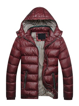 Hooded Patchwork Zipper Thick Mens Winter Coat