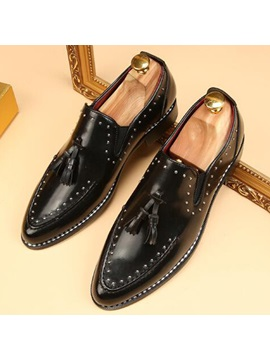 Pu Fringe Rivet Slip On Mens Dress Shoes