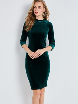 Stand Collar Plain Womens Bodycon Dress