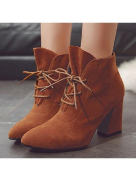 Faux Suede Pointed Toe Block Heel Womens Boots