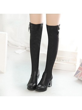 Pu Side Zipper Chunky Heel Black Thigh High Boots