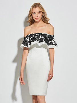 Modern Sheath Off The Shoulder Sleeveless Appliques Knee Length Cocktail Dress