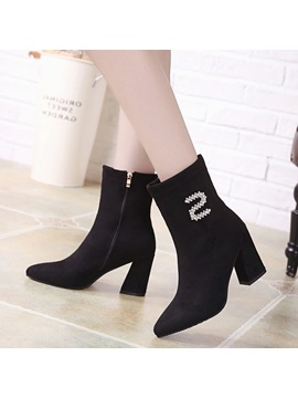 Faux Suede Rhinestone Pointed Toe Womens Boots