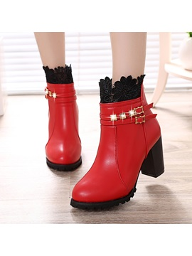 Pu Patchwork Lace Buckle Rivet Ankle Boots