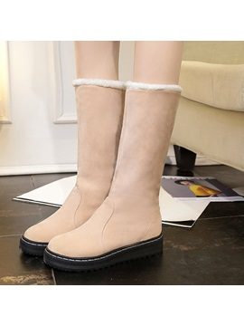 Faux Suede Sewing Slip On Womens Snow Boots