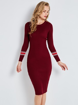 Round Neck Mid Calf Womens Sweater Dress