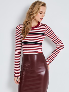 Sweater Color Block Stripe Flare Sleeve Womens Knitwear