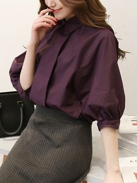 Half Sleeve Polo Neck Loose Blouse