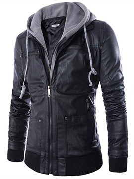 Tidebuy Double Layer Hooded Zipper Mens Leather Jacket