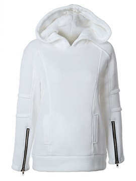 Hooded Zipper Pullover Plain Womens Hoodie