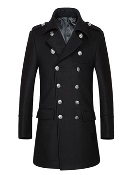 Lapel Double Breasted Solid Color Slim Medium Length Mens Coat